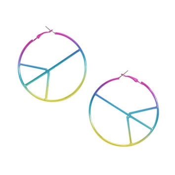 Blackheart Anodized Rainbow Peace Sign Hoop Earrings