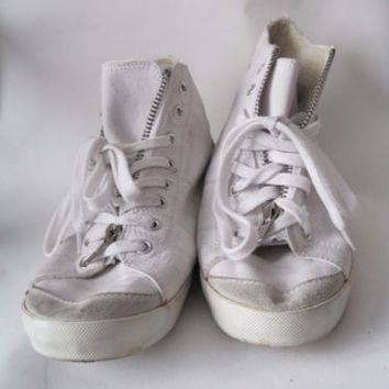 RIVER ISLAND SIZE 8 shoes HI TOPS LADIES WHITE FLATS TRAINERS HIGH top CANVAS   eBay