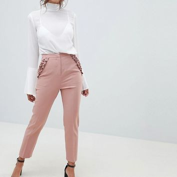 ASOS DESIGN frill pocket slim PANTS at asos.com