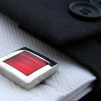 Red Cuff links - Metal cuff links - Red Silver cuff links - Square cufflinks - Fashion cuff links - Wedding