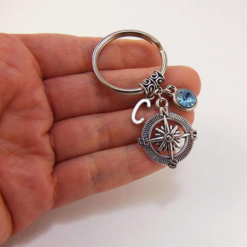 Compass keychain, custom compass key chain, personalized compass keychain, long distance friendship gift, long distance relationship gifts