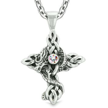 Fire Dragon Protection Celtic Knots Cross Powers Magic Amulet Rainbow Crystal Pendant Necklace