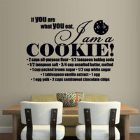 Wall Vinyl Sticker Decals Decor Art Words Sign Quote Lettering Kitchen I am Cookie recipe (z1166)