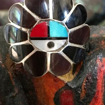 Zuni Sunface Ring in Jet Coral Mother of Pearl and Turquoise Size: 7