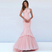 2016 New Arrive Sexy Halter Mermaid Prom Dresses Long Summer Luxury Beaded Robe De Soiree Glamorous Pink Evening Dress Plus Size