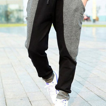 Color Block Drawstring Pockets Design Jogger Pants