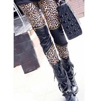 Leopard/PU Zipper Detail Skinny Leggings