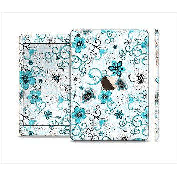 The Blue and White Floral Laced Pattern Full Body Skin Set for the Apple iPad Mini 3