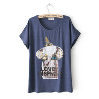 Sparkling Crown Elephant Batwing Loose Tshirt