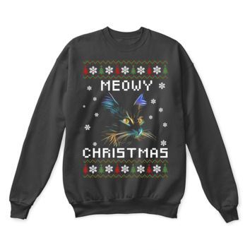 SPBEST Neon Lights Cat Meowy Christmas Ugly Sweater
