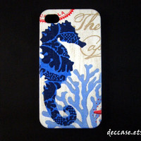 Case iPhone 4, iPhone 4 Case - Blue Sea Horse on Wood texture sea ocean underwater
