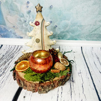 Cream ceramic Christmas tree with candle holder green moss rustic wood slice, Christmas decor, natural, pine cone, orange, table decor