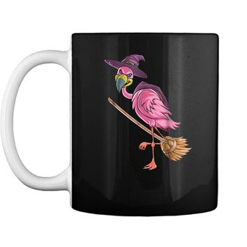 Halloween Flamingo Witch  Scary Party Funny Broom Gift Mug