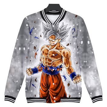 BTS DRAGON BALL baseball jacket Anime 3D print jackets women college jacket Super Saiyan Son Goku clothes baby girl 4XL clothes