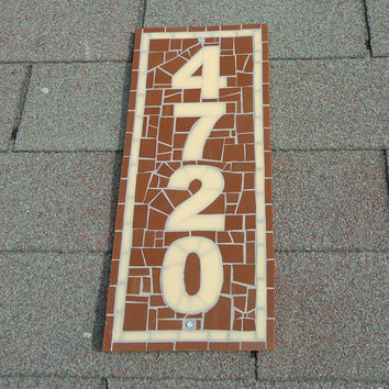 Vertical Brown and Cream Mosaic House Number with Border - Custom Address Sign
