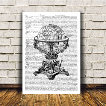 Vintage globe poster Retro print Antique art Modern decor RTA384