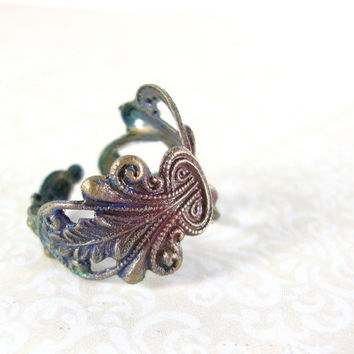 Victorian Peacock Filigree Ring - Peacock Colors Patina Jewelry - Unique Jewelry - Hand Painted Jewelry Neo Victorian Asymmetrical Boho Ring