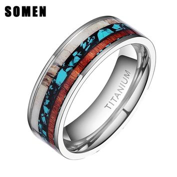 8mm Vintage Wood Antlers Inlay Titanium Ring Men Engagement Rings For Women Wedding Band Fashion Female Jewelry anel Bague