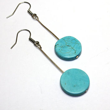 Round Flat Howlite Earrings. Stone Bead Ear Rings on Long Pin. Blue Howlite Pancake Style Round Jewelry. Astral Travel Occult Jewelry