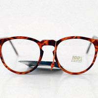 NEW Vintage Tortoise Transparent Eyeglasses / Rounds Unisex Mens Womens Glasses - Taiwan - 80s