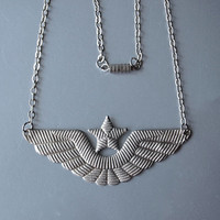 Soviet Pilot's Hat Emblem Necklace Silver Wings and Star Deconstructing Socialism