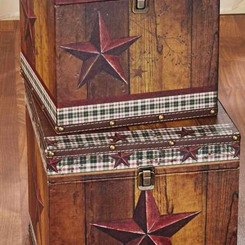 Country Themed Decorative Set of Trunks Barn Star Print Square Nesting Rustic