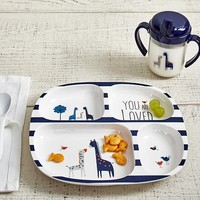 "Navy ""You are Loved"" Feeding Plate & Sippy Cup"