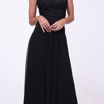 Lace Bodice Overlay Sleeveless Long Evening Dress Black