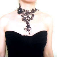 large black lace choker bib necklace - hand dyed - Fabric art jewelry -  lace jewelry gift for her
