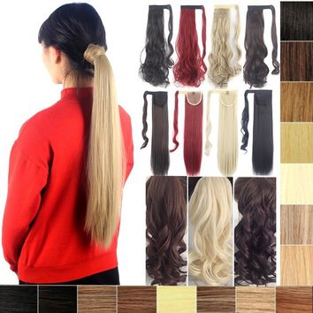 Fahion Wrap Around Ponytail Hair Extensions Straight/Curly Ponytail More Color