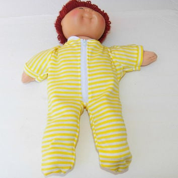Cabbage Patch KIDS 16 inch BOY doll clothes handmade 'Liam in Yellow Stripes' knit pajamas sleeper …