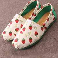 Sweet Pastorale Style Floral & Strawberry Print Canvas Loafers