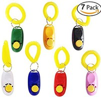Attmu 7 Pack Pet Training Clicker with Wrist Strap, Dog Training Clicker Set