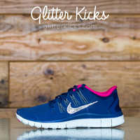 Nike Free 5.0+ Running Shoes Hand Customized With Swarovski Crystal Rhinestones - Glitter Kicks - Shoes