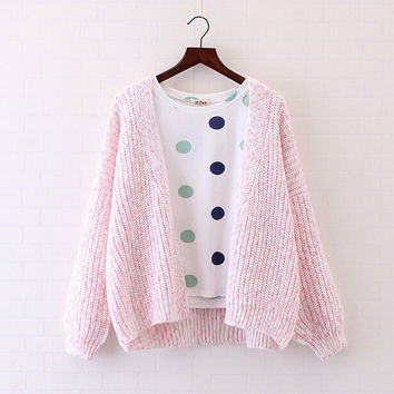 Western style floral wire loose female Korean sweater coat sweet Knitted cardigan mori girl 2016 autumn New