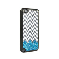 Blue Glitter Chevron iPod Touch 5 and iPod Touch 4 Case