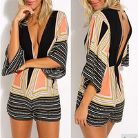 Black Dot and Geometrical Print Backless Romper