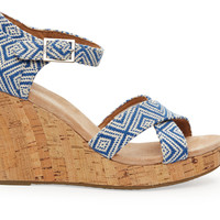 TOMS Ink Woven Diamond Women's Strappy Wedge Blue