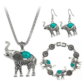 Bohemian Style Fashion Green/Red/Black Blue Stone Jewelry Vintage Cute Elephant Necklace For Women Girl Hot Sale