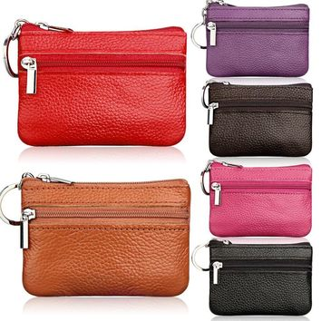 Women Leather Coin Card Key Ring Wallet Pouch Mini Purse Zipper Small Change Bag