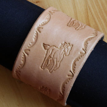 Running Horse Bracelet, Hand Tooled Leather Bracelet, Horse Wristband, Wide Leather Cuff Bracelet, Leather Wristband,Either Natural or Brown