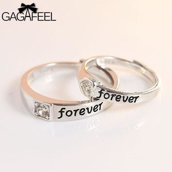 GAGAFEEL Couple Ring Genuine 925 Sterling Silver Jewelry For Engagement Wedding Party Trendy Open