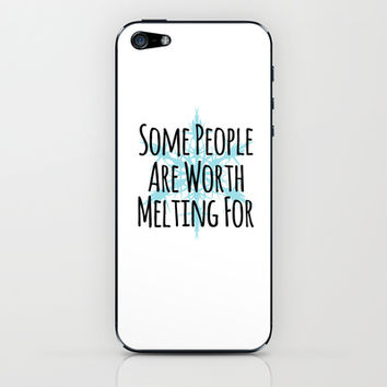 Some People Are Worth Melting For- Frozen (Olaf) iPhone & iPod Skin by Lauren Ward