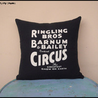 "Circus Sideshow black and white 16"" x 16"" cotton throw pillow cover - decorative pillow, circus pillow, black cushion, boho, bohemian decor"