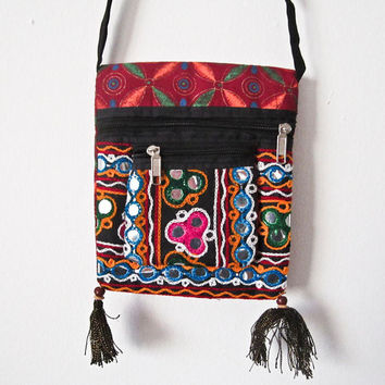 Vintage Indian handcrafted embroidery patch work mirror work, Indian cotton stain dye shoulder jhola, purse bag 012