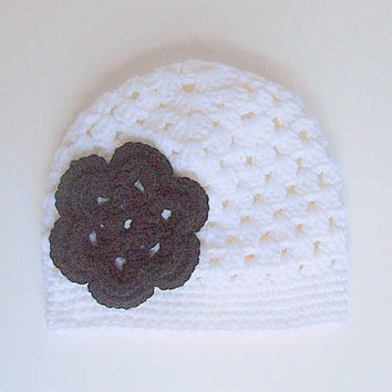 Toddler White  Hat With Black Flower 2 To 5  Year  Infant Girl Cap Baby Beanie Children Winter Cloche  Crochet Clothing  Fall  Skullcap