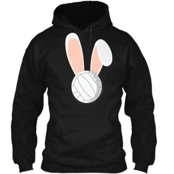 Easter Rabbit Bunny Ears Volleyball Sports Holiday Shirt Pullover Hoodie 8 oz