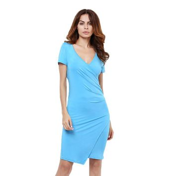 Summer Women Dress V Neck Short Sleeve Quality Cheap Clothes Bodycon Party Vestidos Ladies Low Price Robe Casual Clothing