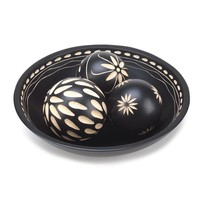 Beautiful Black Decorative Wood Balls With Detailed Tray