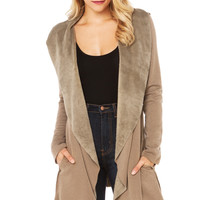 Khaki Asymmetrical Lapel Coat